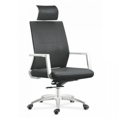 office chair genuine leather white. New Design High Back Genuine Leather Manager Office Chair With Headrest White C