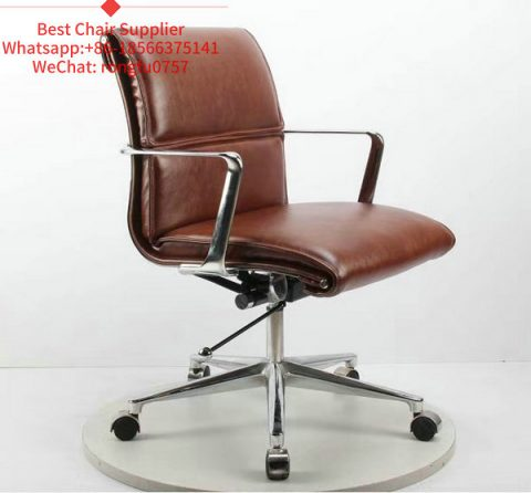 Leather Metal Swivel Office Chair